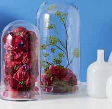 globe fleuri vases blancs